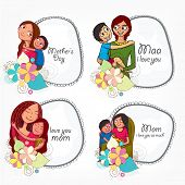 picture of i love you mom  - Set of stylish frames decorated with loving moms and their children for Happy Mother - JPG