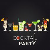 stock photo of pina-colada  - Vector set of different alcohol cocktails - JPG