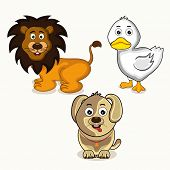 stock photo of bird-dog  - Cute cartoon character of smiling lion with dog and white duck - JPG