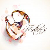 picture of special day  - Creative sketch of a mom with her child on floral design for Happy Mother - JPG