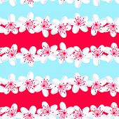 stock photo of frangipani  - Red and Blue tropical frangipani seamless pattern  - JPG