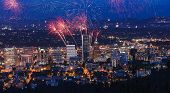 picture of mansion  - View of Portland Oregon USA from Pittock Mansion during a Fireworks Show - JPG