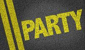 stock photo of bachelor party  - Party written on the road - JPG
