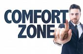 stock photo of comfort  - Business man pointing the text - JPG