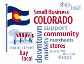 stock photo of patron  - Small Business word cloud illustration to encourage shopping at local and community businesses - JPG