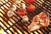 pic of flame-grilled  - Barbeque Roasted Rib Steak Tomatoes And Mushrooms On Hot Grill Ready To Eat - JPG
