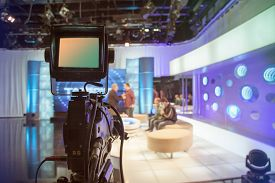stock photo of studio  - Television studio with camera and lights  - JPG