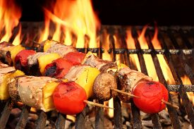 image of braai  - Meat And Vegetable Kebabs On The Hot BBQ Grill Closeup - JPG