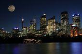 Moon In Sydney Skyline