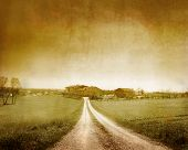 pic of farm-house  - Vintage view of a path running towards a farm - JPG