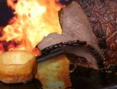 English Roast Meat By Fire With Flames