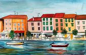 Постер, плакат: Watercolor Picture with a seaside town boat and sea