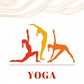 Постер, плакат: Yoga poster with silhouettes of women in the yoga poses on a white background
