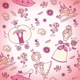 image of cinderella  - Vector seamless background for kids - JPG