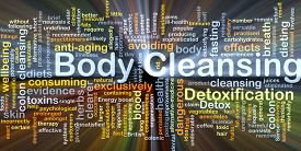 foto of cleanse  - Background concept wordcloud illustration of body cleansing glowing light - JPG