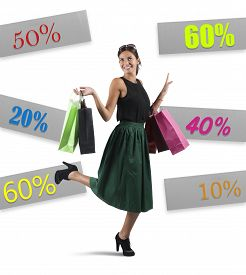 picture of going out business sale  - Cheerful girl go to shopping with sale - JPG
