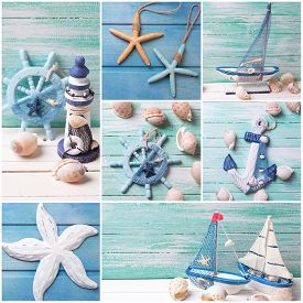 picture of marines  - Collage from photos with sea theme decorations - JPG