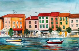 picture of boat  - Watercolor - JPG