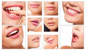 collage of different lips of caucasian woman with different emotions on white