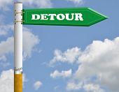 Detour cigarette road sign