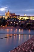Prague. Night-view on Hradcany and Karluv (Charles) bridge