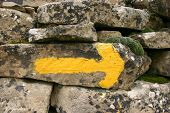 typical waymarking on the Camino de Santiago in Spain, long distance pilgrimage, Europe