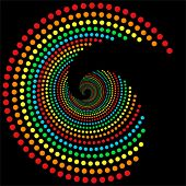rainbow dots spiral pattern