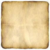 marked, distressed, burnt and old paper or parchment background, plenty of copy space for your text, isolated over white