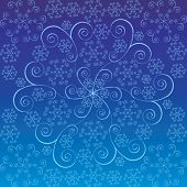 fractal style snowflake over blue
