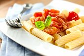 Tortiglioni with pancetta and tomatoes