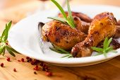 foto of roast chicken  - Roast chicken with fresh rosemary - JPG