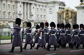 LONDON - NOV 17: Soldiers march as they participate in the Changing of the Guards at Buckingham Pala