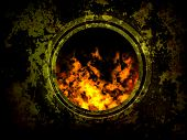old furnace, red fire flame