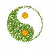Símbolo de floral yin yang, icono de armonías naturales
