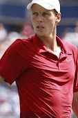 TORONTO: AUGUST 10. Tomas Berdych plays against Sergiy Stakhovskyin the Rogers Cup 2010 on August 10
