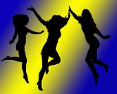 Silhouettes Of Girls Jumping And Dancing