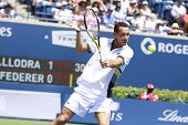 TORONTO- AUGUST 12:Michael Llodra plays against Roger Federer in the Rogers Cup 2010 on August 12, 2