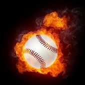 Baseball Ball on Fire. 2D Graphics. Computer Design.