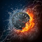 Speedometer in Fire and water Isolated on Black Background