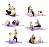 Collage of mother and daughter practicing yoga together on white background. Sport and family concep poster