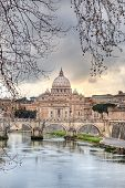 Saint Peter's dome (Basilica di San Pietro) from Tevere river,Vatican Town, Rome, Italy.