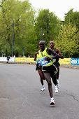 6th april 2008: Kenian runner Philemon Kipchumba Kisang (n?1) is the winner of the last edition of Milan International Half Marathon. The other runners are Wilson Busienei and John