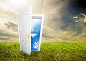 Open door to new life on the field. Hope, success, new life and world concepts. Other original versi