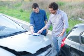 Two Man Finding A Friendly Agreement After  Car Accident poster