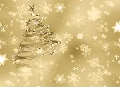pic of xmas tree  - Christmas tree on golden snowflake background  - JPG