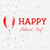Peru National Day Patriotic Poster. Flying Rubber Balloon In Colors Of The Peruvian Flag. Peru Natio poster