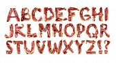 Collection meat alphabet. Fresh Meat alphabet. Bacon alphabet. Litter. Bacon litter. poster