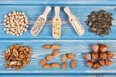 Products Or Ingredients Containing Zinc And Dietary Fiber, Concept Of Healthy Nutrition poster