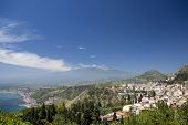 Panoramic View Of Taormina And Mt. Etna