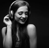 Beautiful Emotional Laughing Long Hair Young Woman Listening The Music In Wireless Yellow Headphone poster